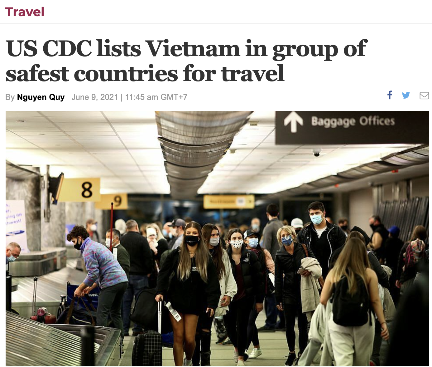 US CDC lists Vietnam in group of safest countries for travel